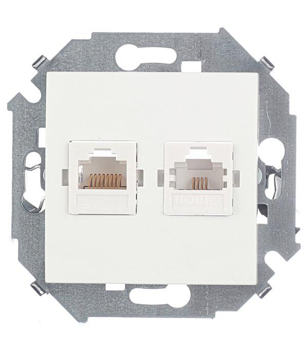 Купить Механизм розетки телефонная + компьютерная RJ11+RJ45 кат.5е, Simon 15, белая, Белый