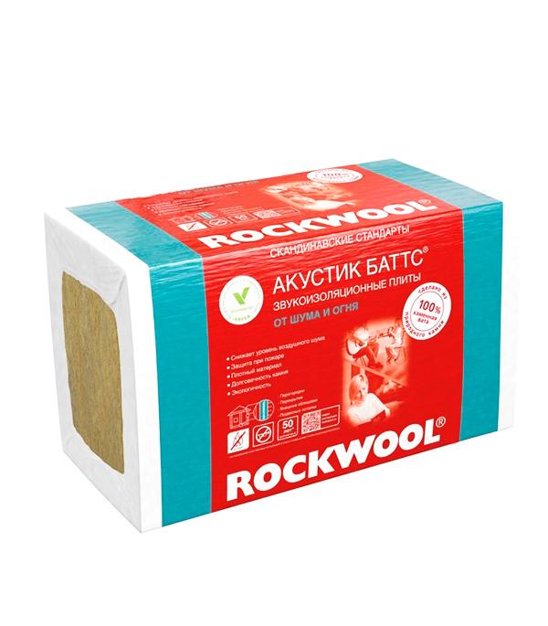 Звукоизоляция ROCKWOOL Акустик Баттс 1000х600х50 мм 6 кв.м