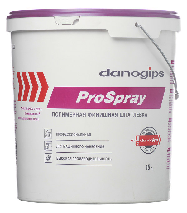Шпатлевка Danogips Pro Spray полимерная 15л/25кг шпатлевка полимерная bergauf finish polymer 5кг