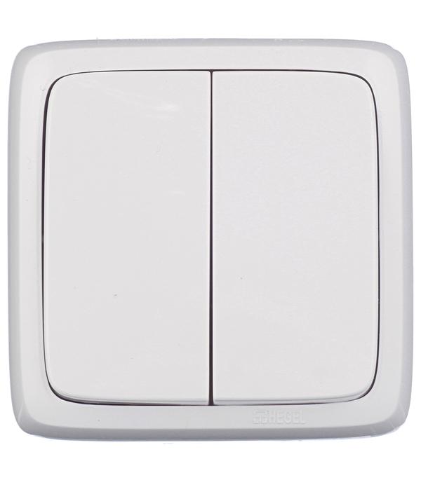 Выключатель двухклавишный HEGEL Alfa о/у белый выключатель двухклавишный о у с индикацией hegel slim белый