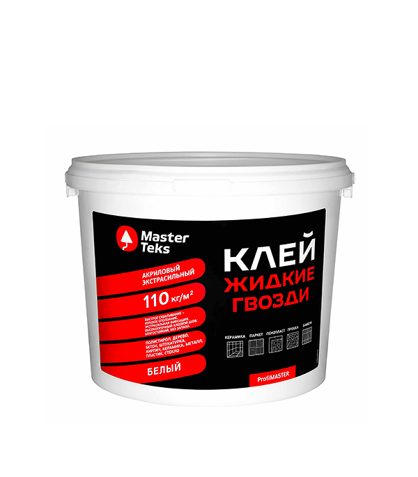 Жидкие гвозди MasterTeks экстрасильный 4,5 кг жидкие гвозди masterteks pm акриловый экстрасильный 7 2кг бе