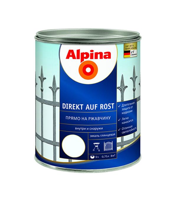 цена на Эмаль по ржавчине Alpina белая RAL9016 0.75 л