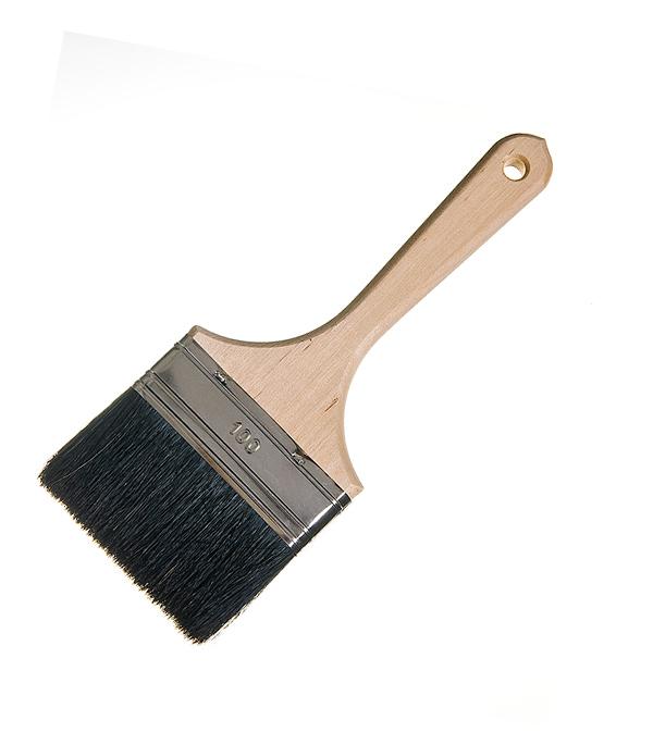 Кисть плоская Лазурный берег 100 мм натуральная щетина деревянная ручка