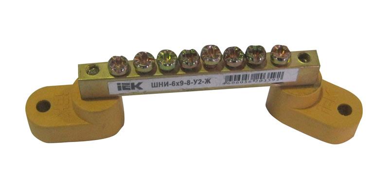 Нулевая шина на 2-х угловых изоляторах  (8 отв.)