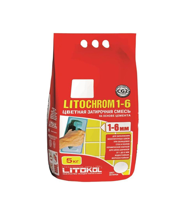 Затирка Литокол Литохром 1-6 C.10 серый 5 кг