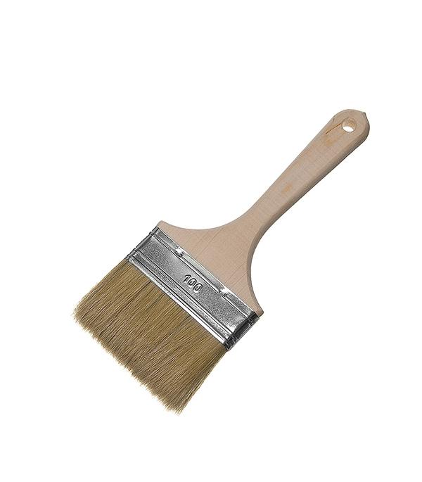 Кисть плоская 100 мм натуральная щетина деревянная ручка Wenzo Стандарт