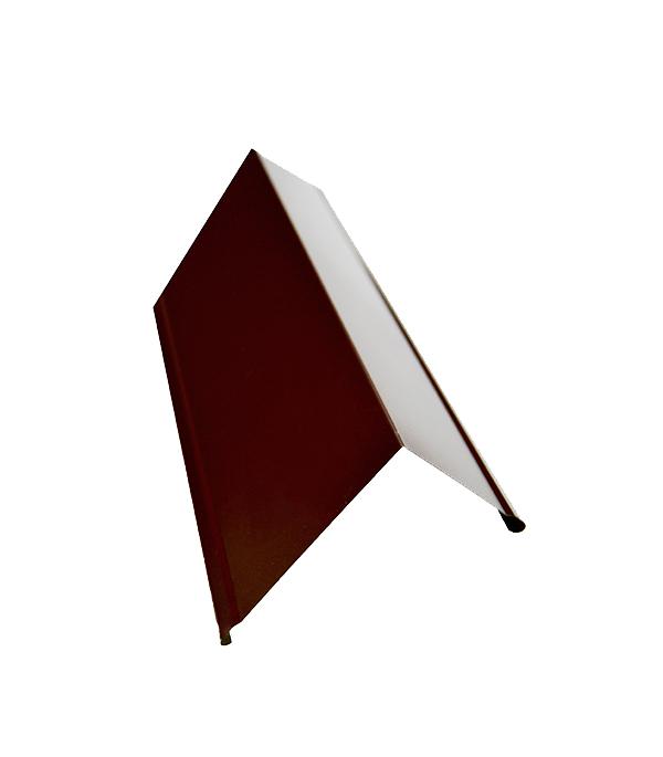 Планка торцевая для металлочерепицы 50х100 мм, 2 м коричневая RAL 8017