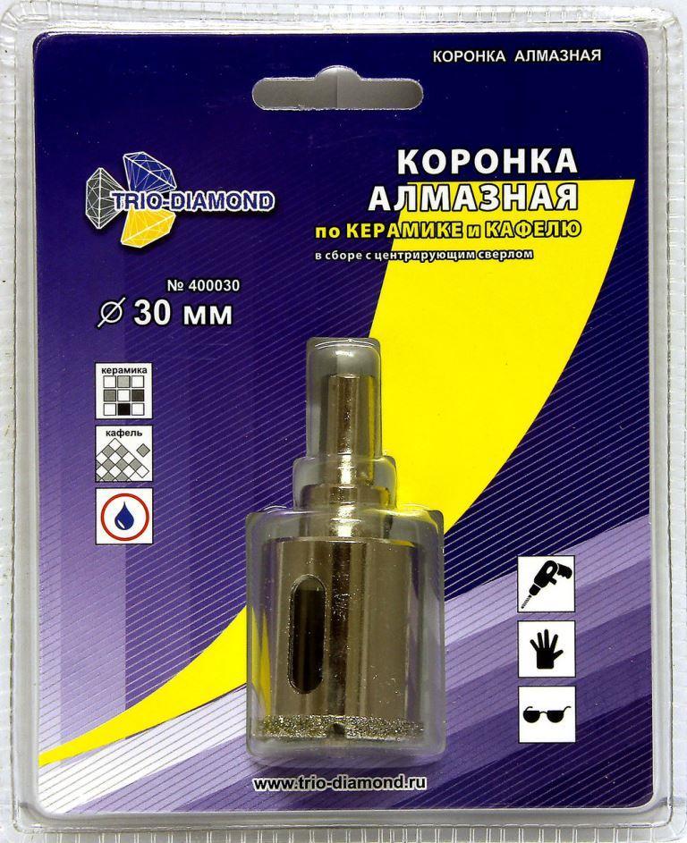 Коронка по керамограниту алмазная 30 мм TRIO-DIAMOND  коронка по керамограниту 8х33 мм bosch профи