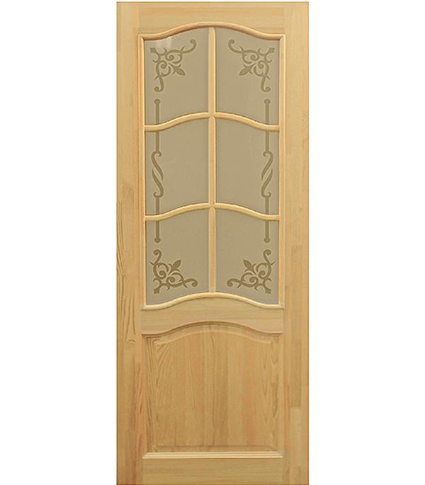 Дверное полотно массив ДФО 800х2000 мм со стеклом (Белоруссия)
