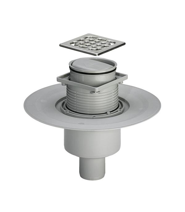 Трап прямой решетка сталь 100х100, 50 мм с фланцем, регулир-й (cухой затвор) Viega 583 224
