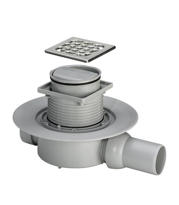 Трап угловой решетка сталь 100х100, 50 мм с фланцем, регулир-й (cухой затвор) Viega 583 217