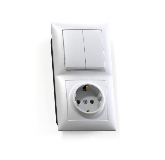 Блок Селена с/у белый (2-кл. выкл. 10А + розетка с з/к 16А)
