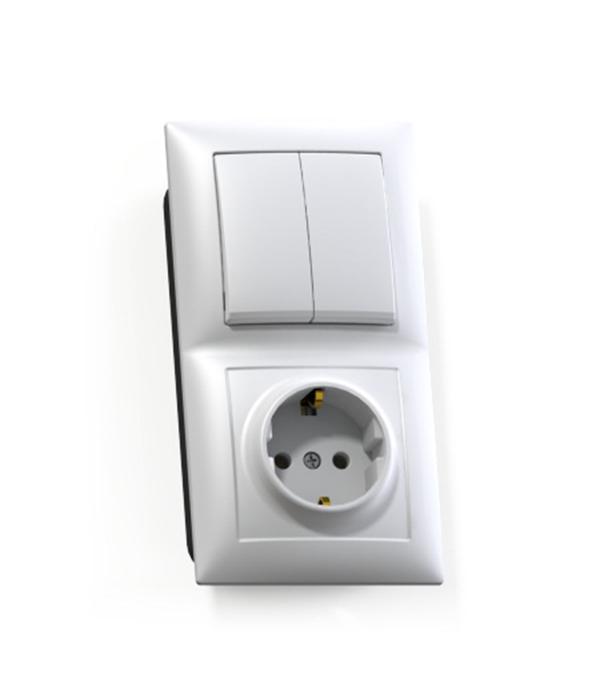 Блок Селена с/у белый двухклавишный выключатель 10А + розетка с з/к 16А выключатель двухклавишный legrandquteo о у белый