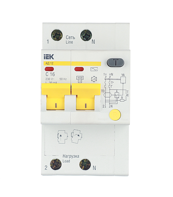 Дифференциальный автомат 2P 16А тип С 30 мА 4.5 kA IEK АД-12 дифференциальный автомат 1p n 16а тип c 30 ма 4 5 ka abb dsh941r