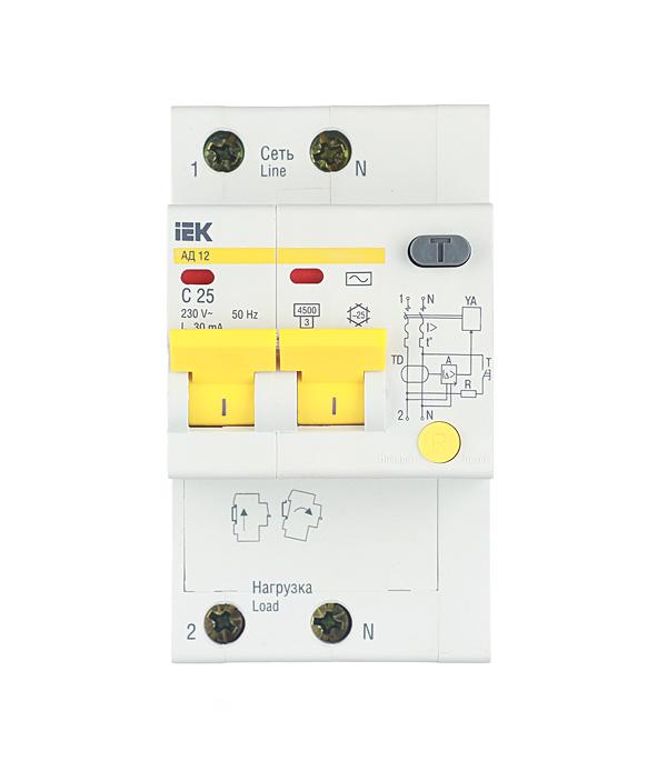 Дифференциальный автомат 2P 25А тип С 30 мА 4.5 kA IEK АД-12 дифференциальный автомат 1p n 25а тип c 30 ма 4 5 ka abb dsh941r