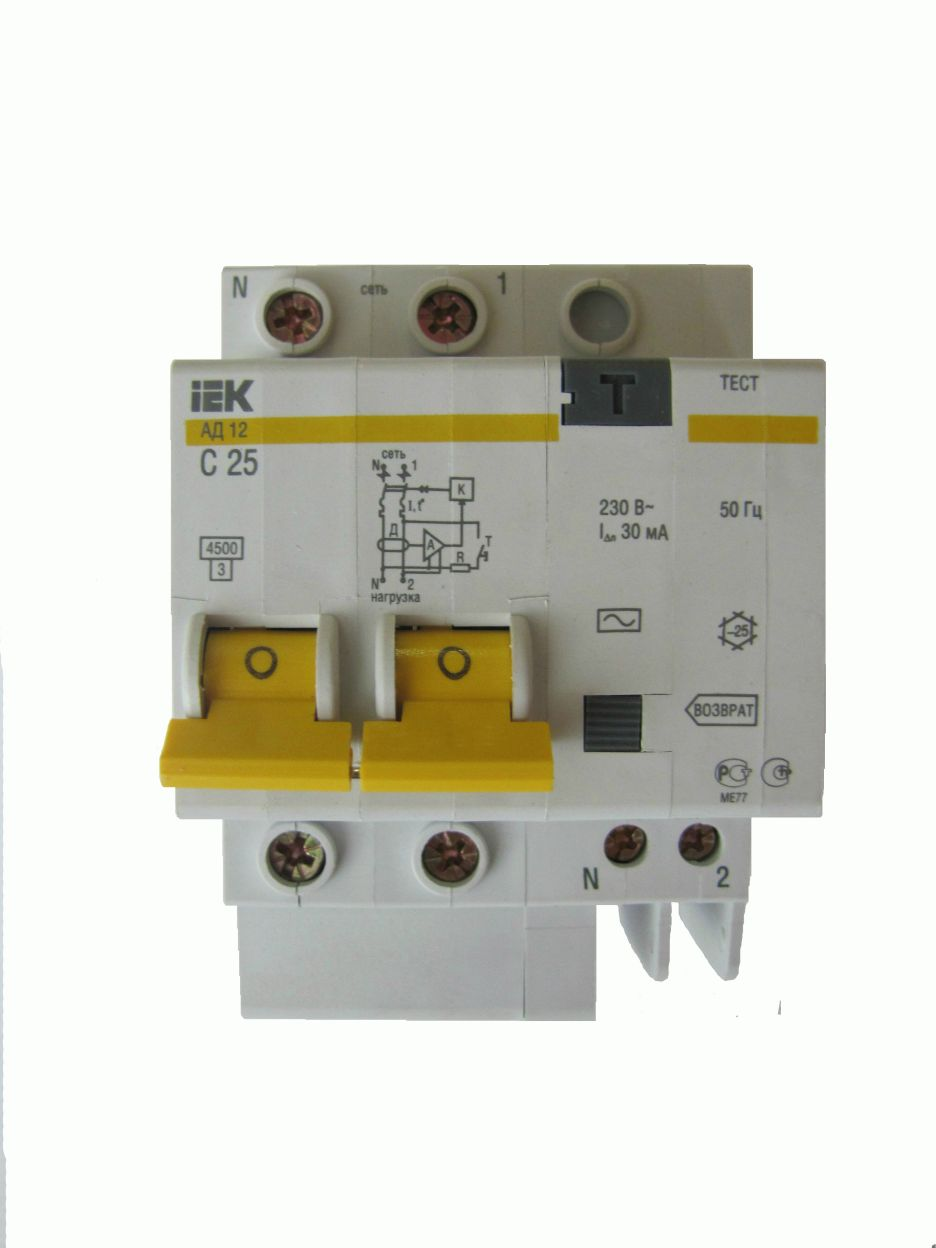 Автомат дифференциальный 2P, 25А, тип С, 30мА, 4.5kA, ИЭК, АД-12