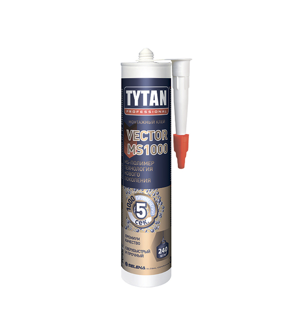 Клей монтажный Tytan Vector MS-1000 кремовый 310 мл упаковка 12 шт х 310 мл клея монтажного tytan professional classic fix прозрачного