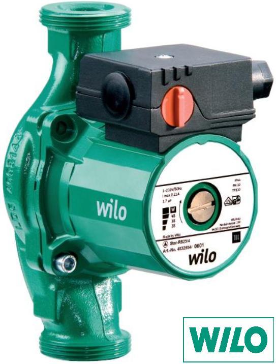 Насос циркуляционный для систем отопления Wilo-Star-RS 25/4 с гайками