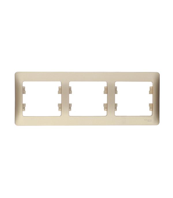 Рамка трехместная горизонтальная Schneider Electric Glossa титан рамка трехместная schneider electric m trend белая