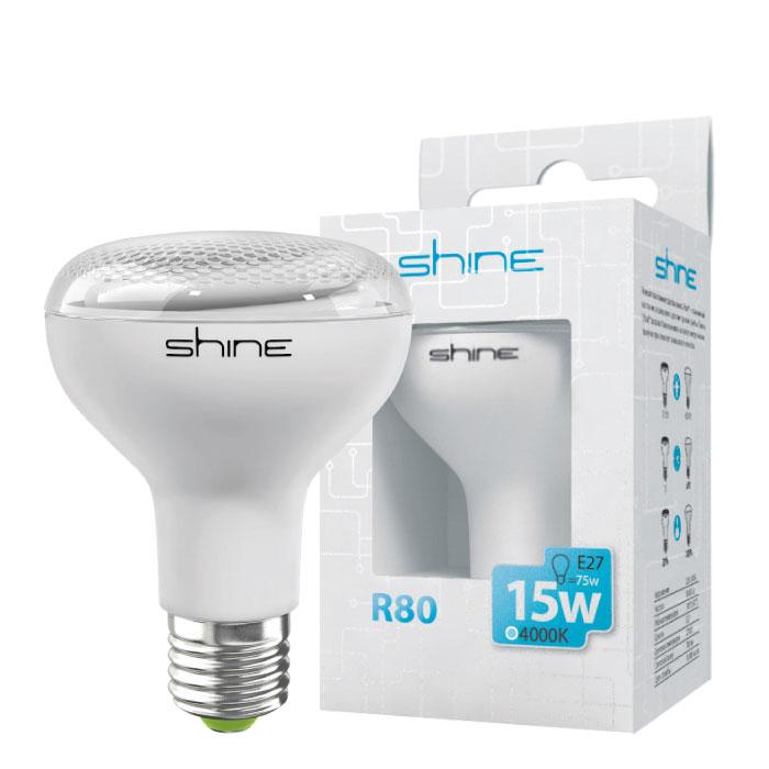 Лампа энергосберегающая E27, 15W, Reflector, 4200К(4000К) (холодный свет), Shine