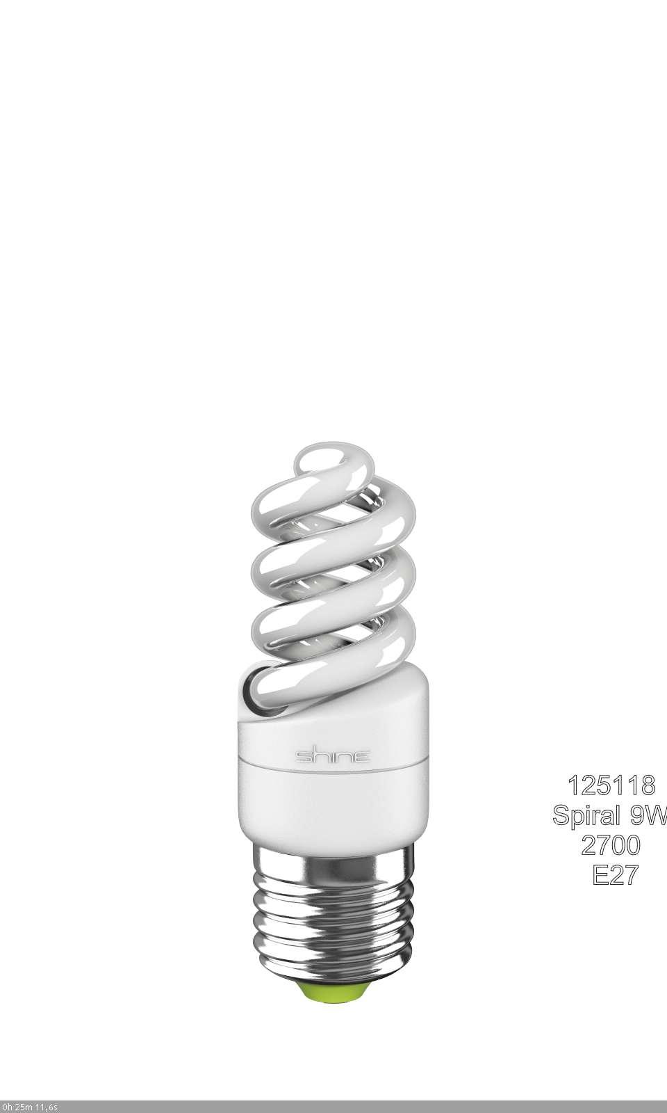 ььЛампа энергосберегающая E27,  9W, Spiral, 2700K (теплый свет), Shine