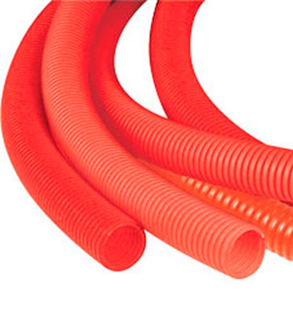 Труба гофрированная 25 мм для металлопластиковых труб d16 мм красная (бухта 50 м)