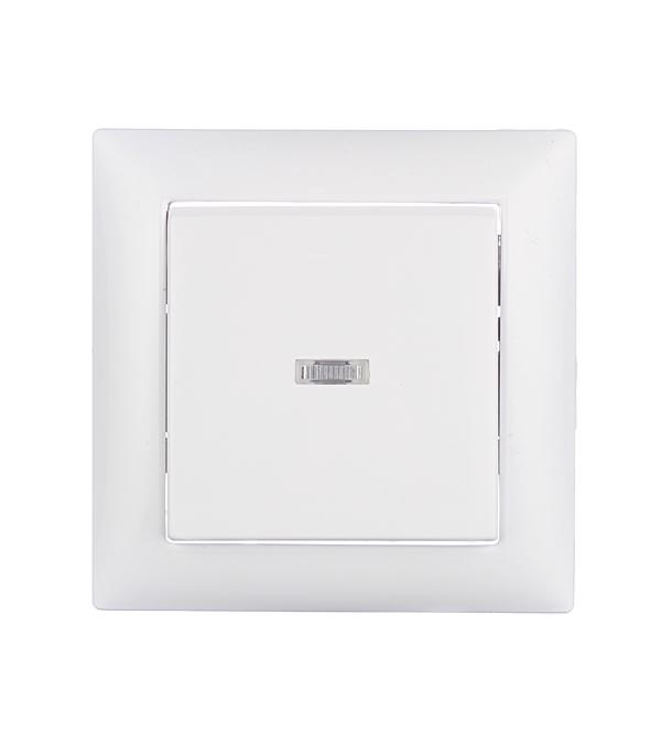 Выключатель одноклавишный Селена с/у с подсветкой белый 250В 10А выключатель двухклавишный наружный бежевый 10а quteo