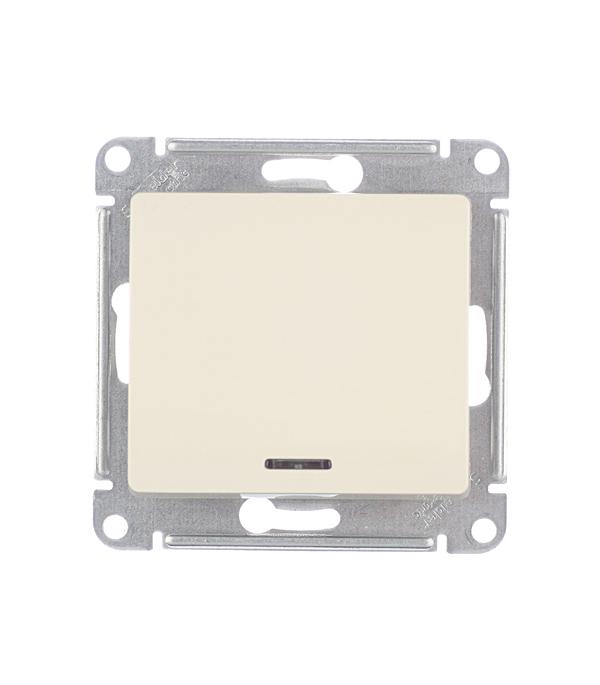 Механизм выключателя одноклавишного Schneider Electric Glossa с/у с подсветкой бежевый механизм выключателя schneider electric glossa белый 1 клавишный gsl000111