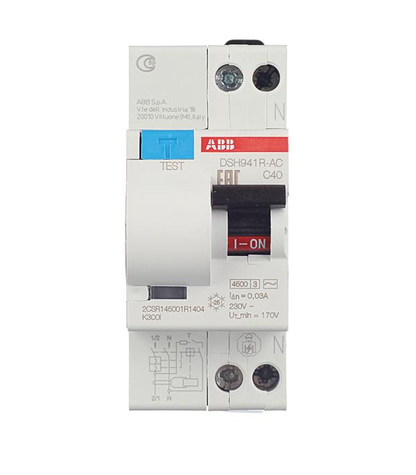Дифференциальный автомат 1P+N 40А тип C 30 мА 4.5 kA ABB DSH941R диф автомат abb dsh941r c25