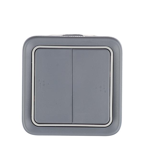 Переключатель двухклавишный Legrand Plexo о/у влагозащищенный IP55 серый переключатель legrand quteo двухклавишный серый 782331