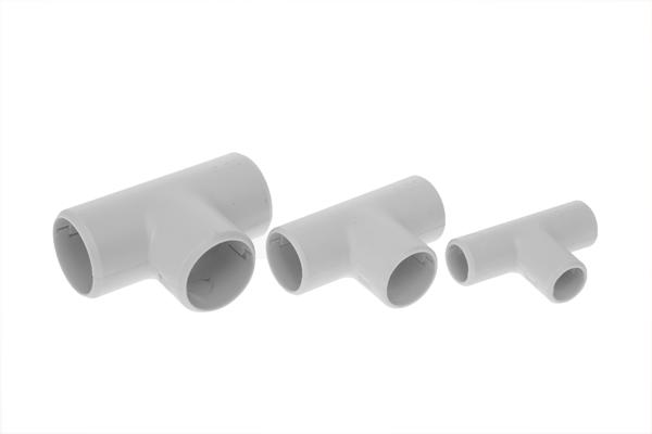 Тройник разборный для труб 25 мм серый (30 шт.)