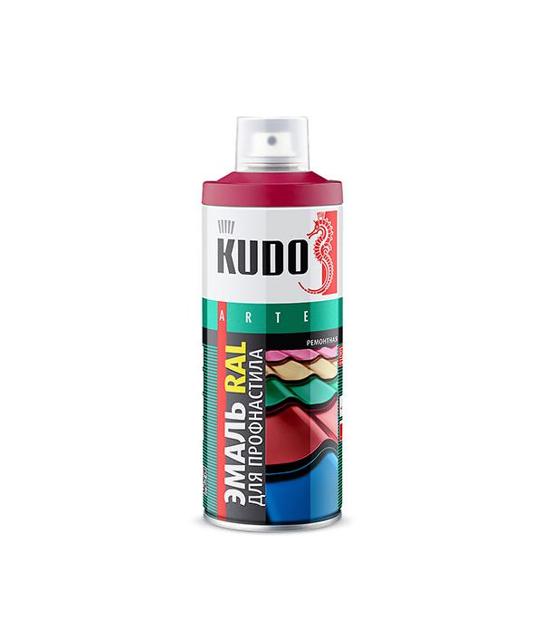 Эмаль для металлочерепицы аэрозольная Kudo Ral 3005 красное вино 520 мл  планка примыкания для металлочерепицы 2 м красное вино ral 3005
