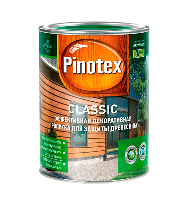 Декоративно-защитная пропитка для древесины Pinotex Classic тик 1 л пинотекс base грунт 2 7 л
