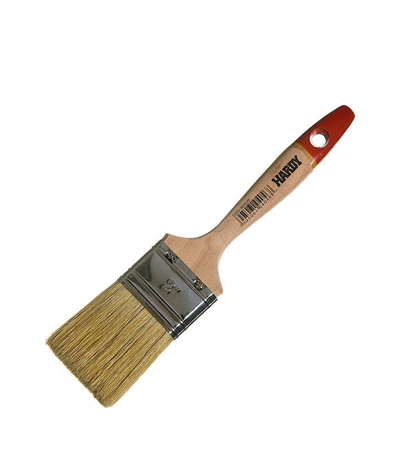 Кисть плоская Hardy 50 мм натуральная щетина деревянная ручка кисть плоская 60 мм натуральная щетина прорезиненная ручка hardy стандарт
