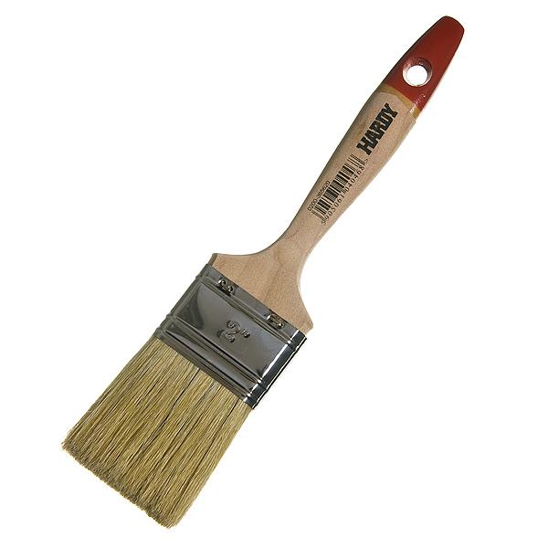 Кисть плоская  50 мм натуральная щетина деревянная ручка Hardy Стандарт