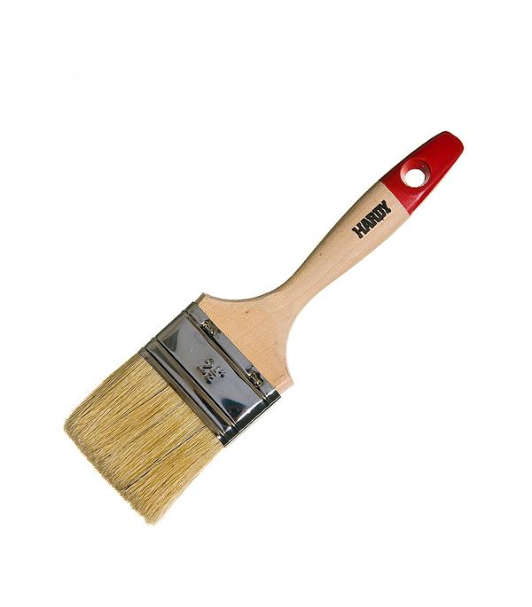 Кисть плоская Hardy 63 мм натуральная щетина деревянная ручка кисть плоская 60 мм натуральная щетина прорезиненная ручка hardy стандарт