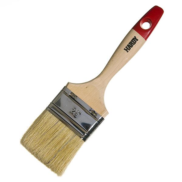 Кисть плоская  63 мм натуральная щетина деревянная ручка Hardy Стандарт