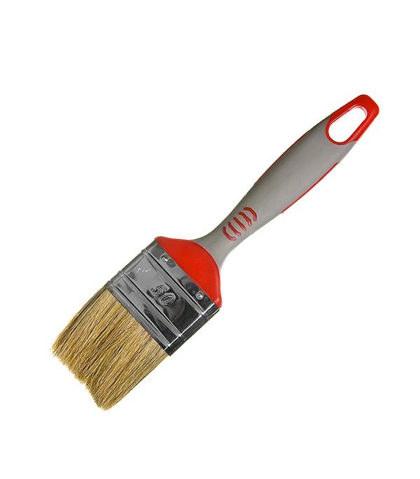 Кисть плоская Hardy 50 мм натуральная щетина прорезиненная ручка  кисть плоская 60 мм натуральная щетина прорезиненная ручка hardy стандарт