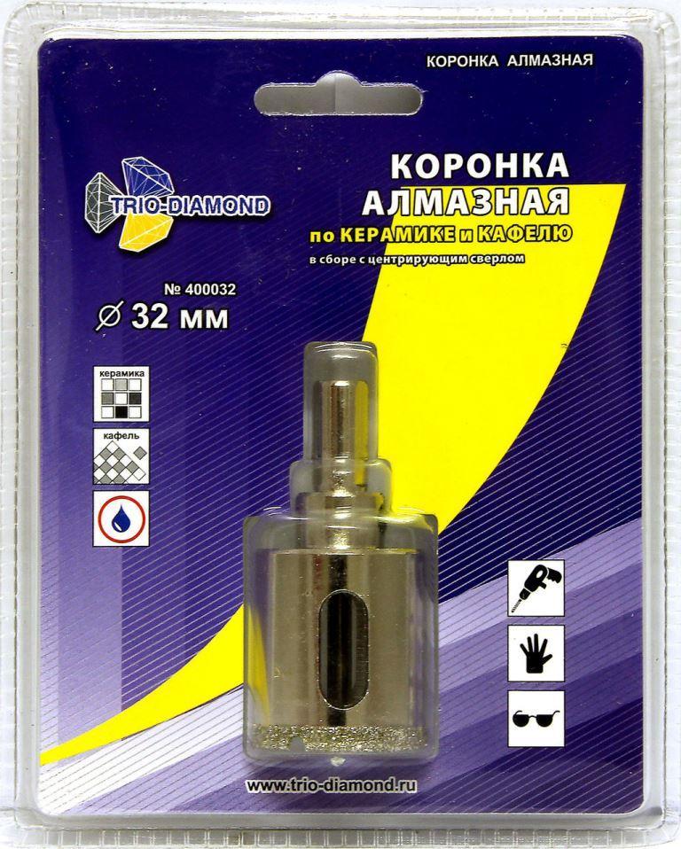 Коронка по керамограниту алмазная 32 мм TRIO-DIAMOND  коронка по керамограниту 8х33 мм bosch профи