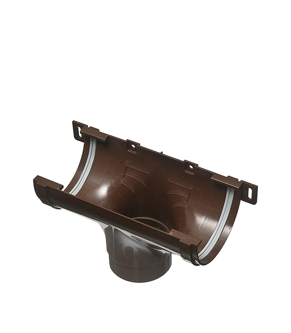 Воронка желоба пластиковая центральная  d90 коричневая (кофе), уплотнитель VINYL-ON