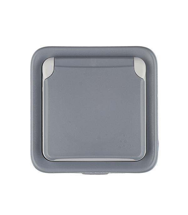 Розетка Legrand Plexo о/у с заземлением с крышкой влагозащищенная IP55 со шторками серый