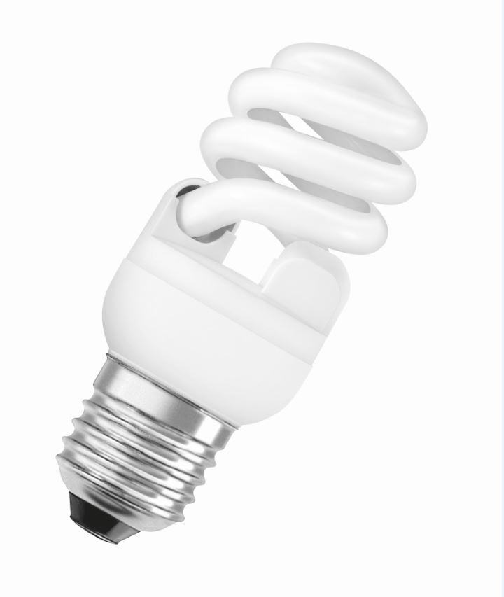 Лампа энергосберегающая E27, 12W, MiniTwist, 2700K (теплый свет), Osram