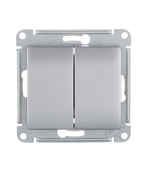 Механизмвыключателядвухклавишногос/уSchneiderElectricGlossaалюминий механизм выключателя schneider electric glossa белый 1 клавишный с подсветкой gsl000113