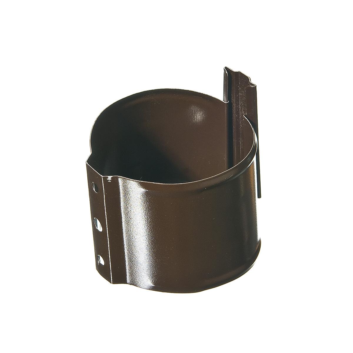 Кронштейн (хомут) трубы на кирпичную стену, металлический d90 мм коричневый с крепежом Grand Line