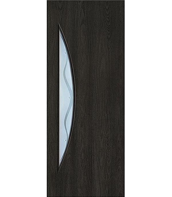 Дверное полотно с 3D покрытием Луна Седой венге 700х2000 мм, со стеклом