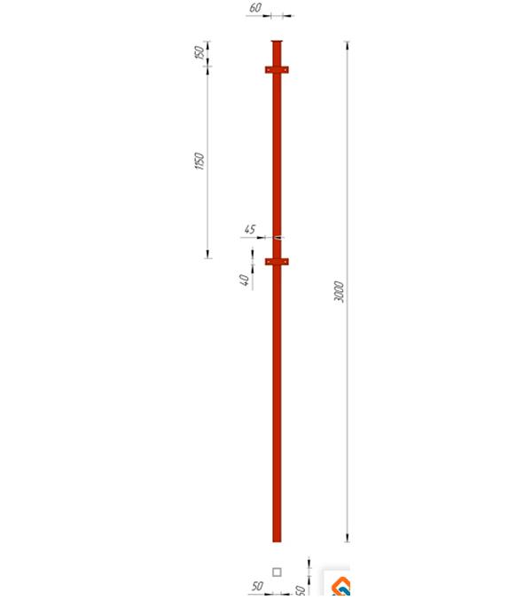 Столб заборный для профнастила 50х50 3м с планкой