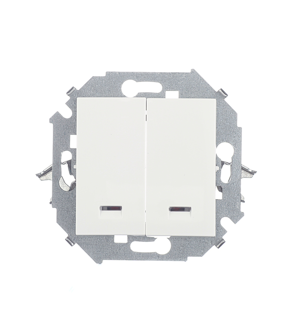Механизм выключателя двухклавишного с индикацией 16А, Simon 15, белый