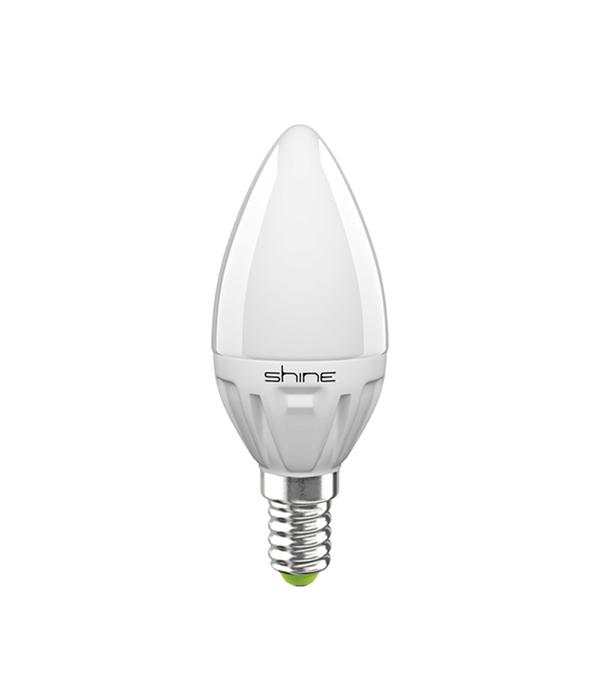 Лампа светодиодная E14,  5(6,5)W, C37 (свеча), 4000K (холодный свет), Shine