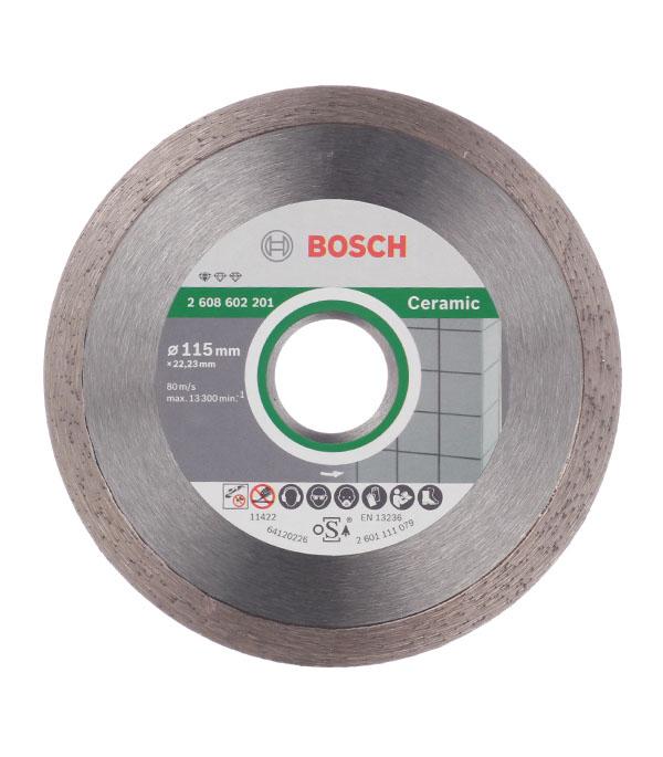 Диск алмазный сплошной по керамике 115х22,2 мм Bosch Профи