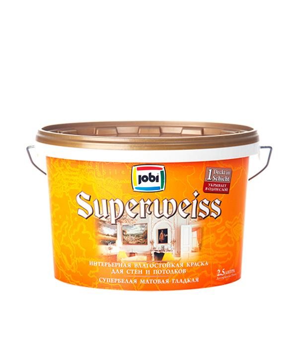 Краска в/д влагостойкая супербелая матовая акриловая JOBI SUPERWEISS  2,5 л